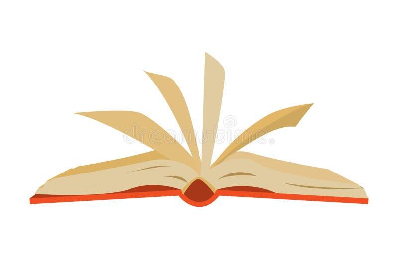 Livro aberto coberto vermelho com vibração das páginas ilustração royalty free