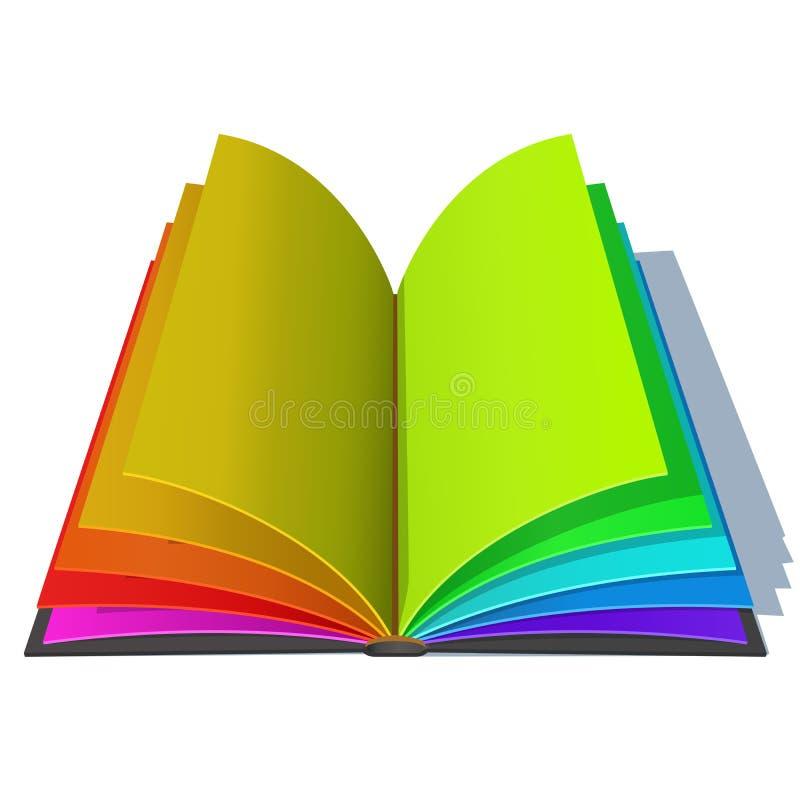 Livro Aberto Com As Páginas Coloridas Do Arco-íris Ilustração do ...