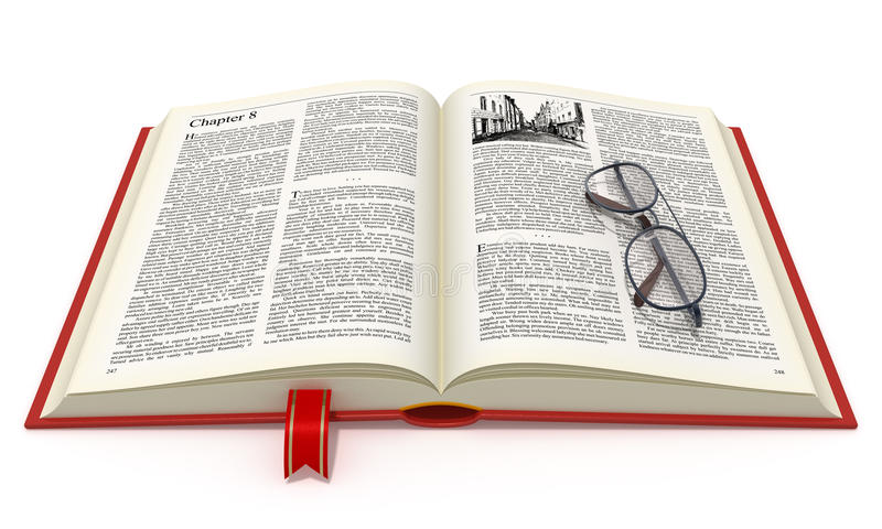 Livro aberto com eyeglasses ilustração royalty free
