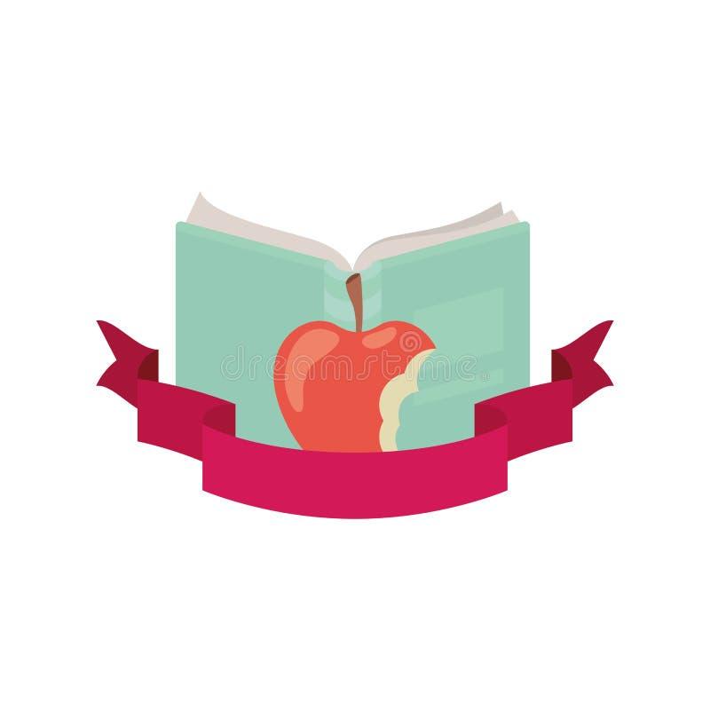 Livro aberto com fruto e fita da maçã ilustração royalty free