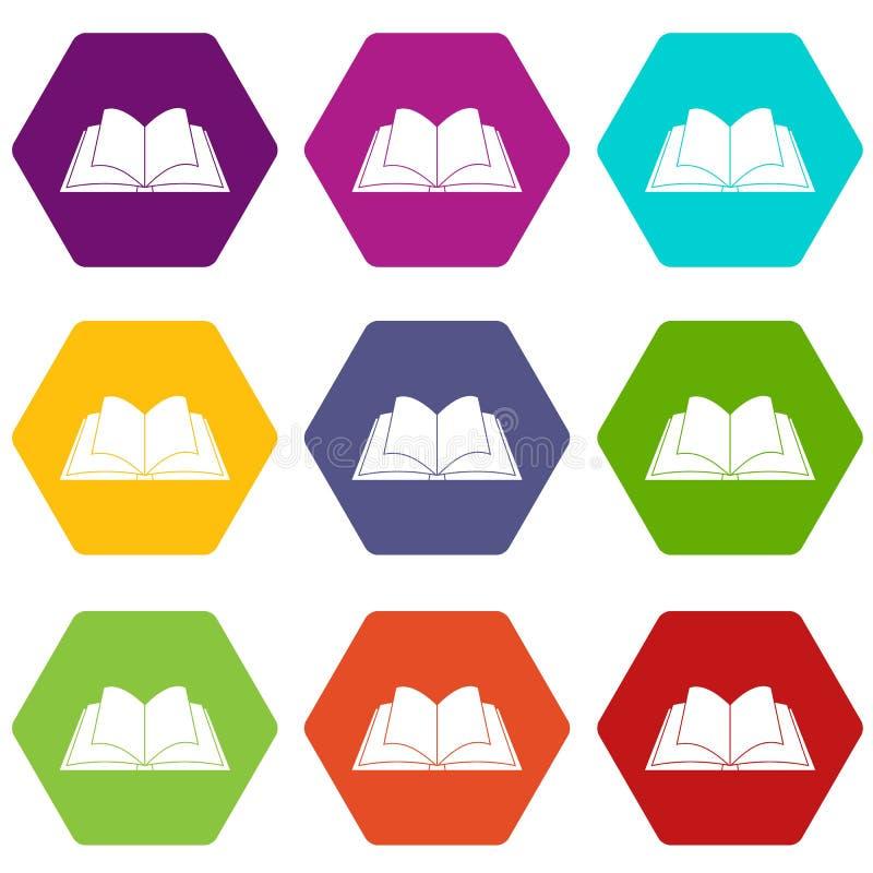 Livro aberto com hexahedron ajustado de vibração da cor do ícone das páginas ilustração do vetor