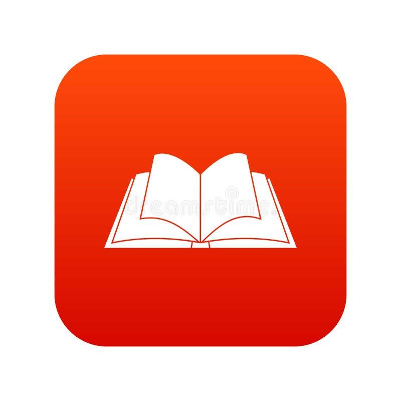 Livro aberto com vermelho digital de vibração do ícone das páginas ilustração royalty free