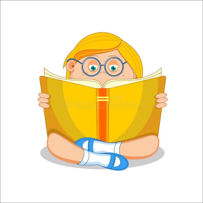 Livro aberto da leitura da menina que senta-se no assoalho, ilustração do vetor ilustração royalty free