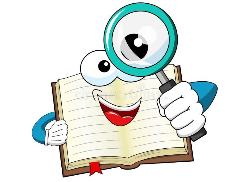 Livro aberto da mascote que olha a lupa isolada ilustração do vetor