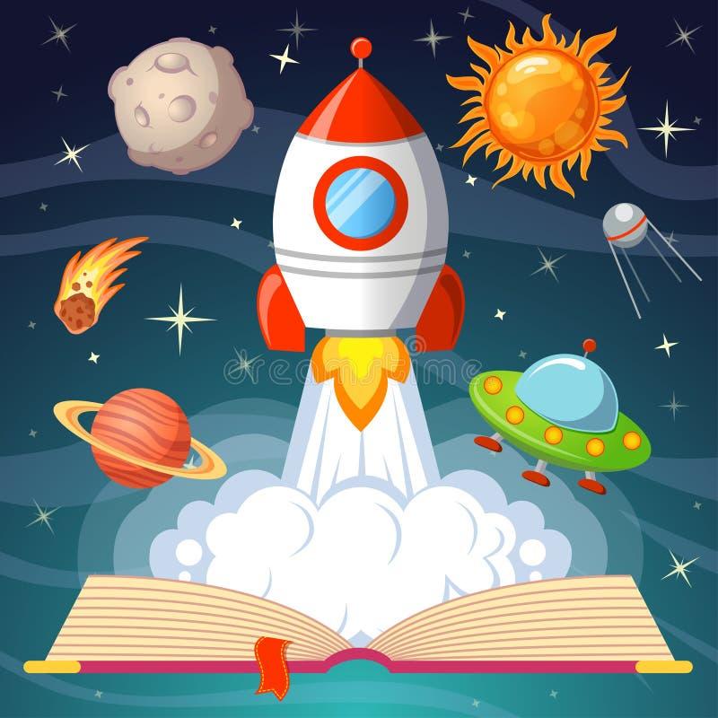 Livro aberto do conto de fadas com nave espacial, sol, lua, Saturno, UFO, cometa ilustração do vetor