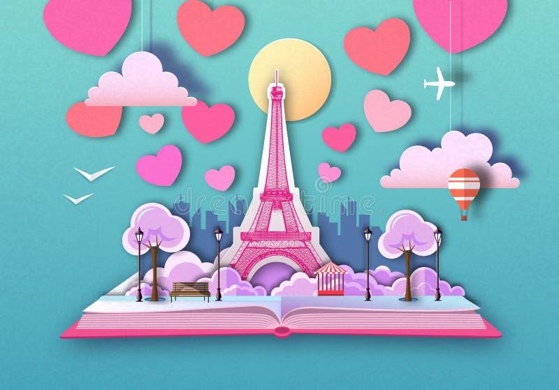 Livro aberto do conto de fadas com paisagem e torre Eiffel da cidade de Paris Projeto cortado do estilo da arte do papel ilustração do vetor