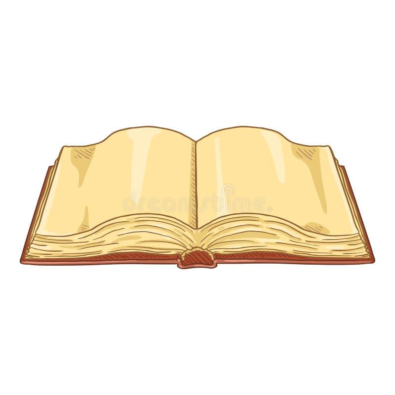 Livro aberto dos desenhos animados do vetor com páginas vazias ilustração do vetor