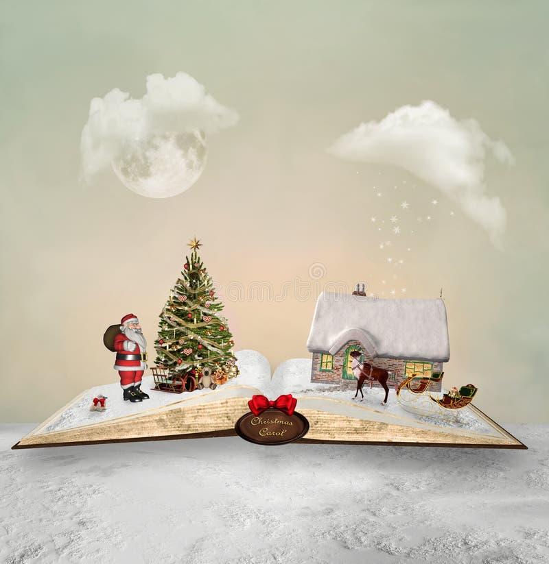 Livro aberto e seu conto mágico do Natal ilustração do vetor