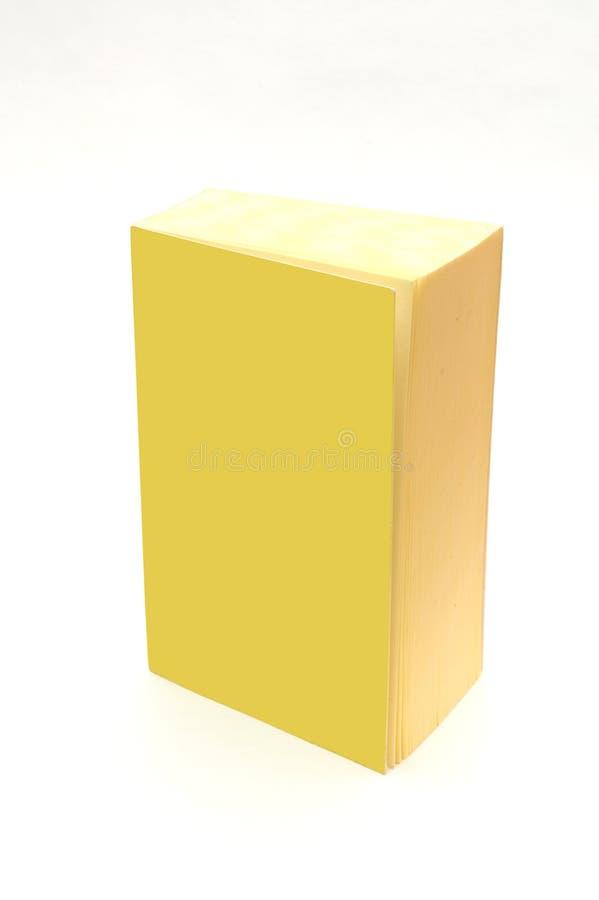 Livro amarelo isolado com tampa em branco - adicione seu texto fotos de stock royalty free