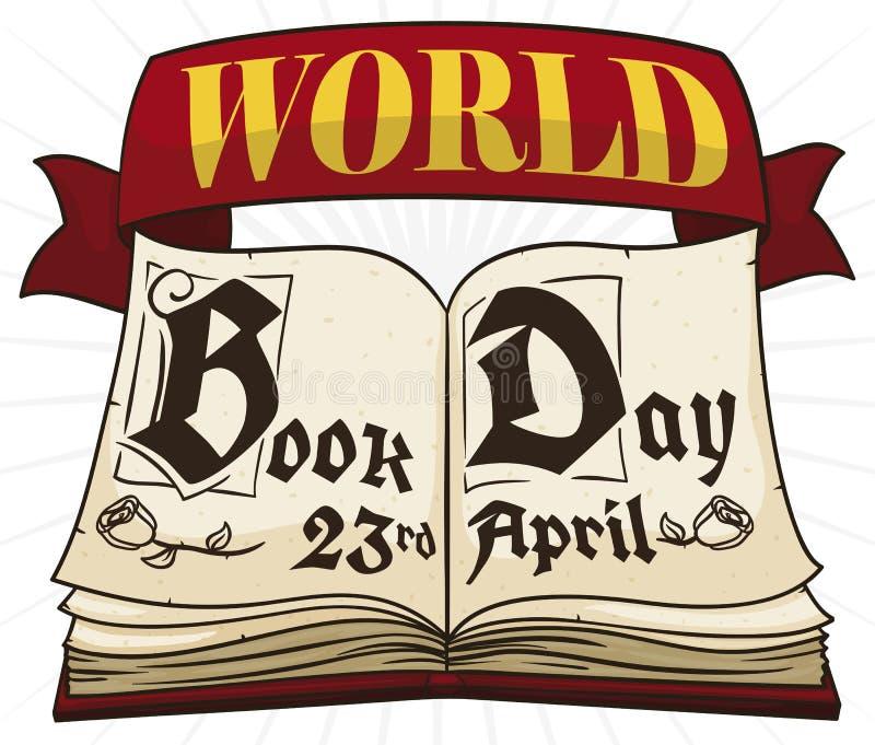 Livro antigo aberto com a fita para comemorar o dia do livro do mundo, ilustração do vetor ilustração do vetor