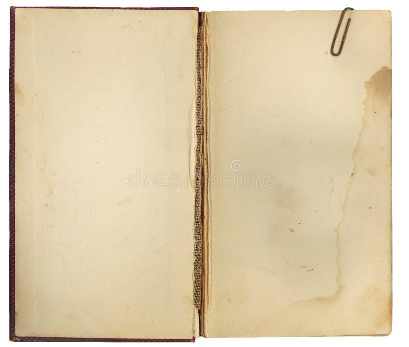 Livro antigo aberto com Paperclip imagem de stock royalty free