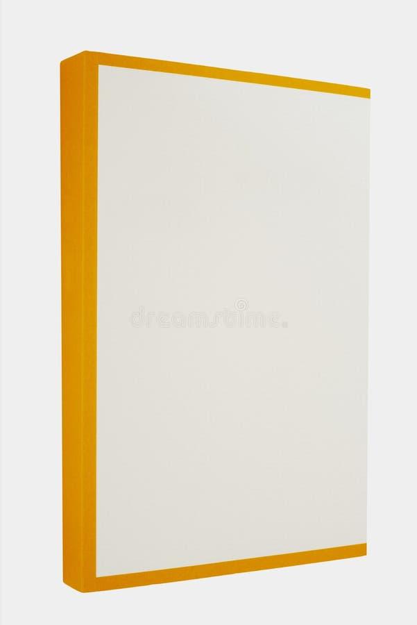 Livro branco com a espinha amarela isolada no fundo branco foto de stock royalty free