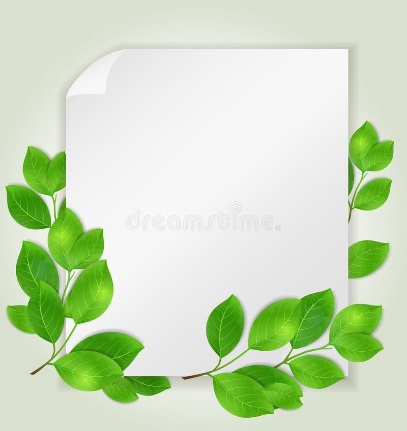 Livro Branco vazio e folhas verdes ilustração stock