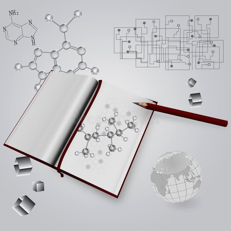 Livro científico ilustração do vetor