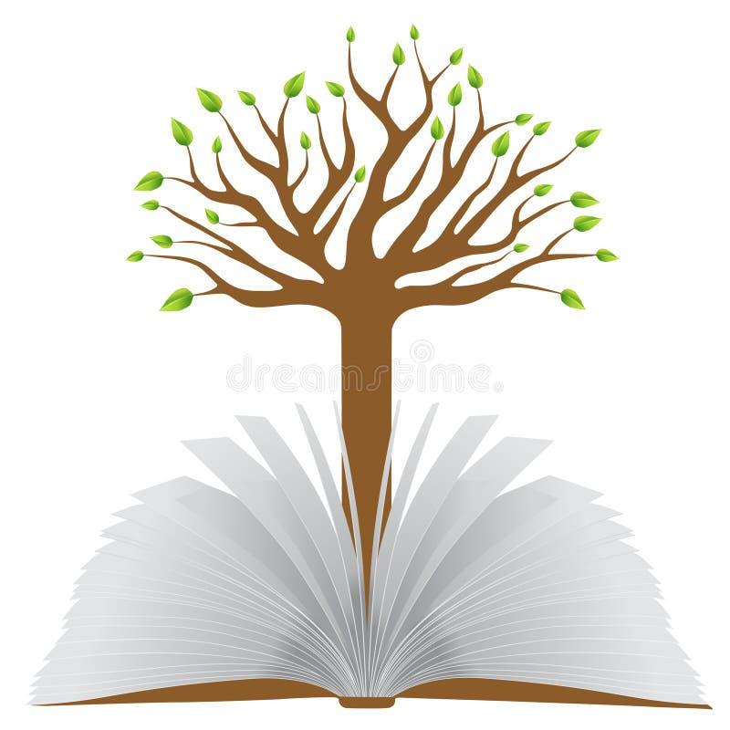 Livro com árvore ilustração stock
