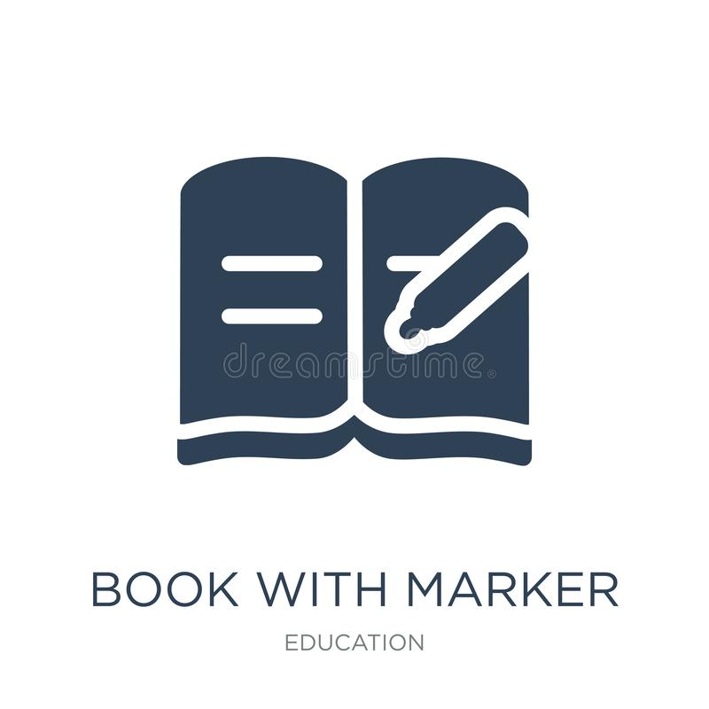 livro com ícone do marcador no estilo na moda do projeto livro com o ícone do marcador isolado no fundo branco livro com ícone do ilustração stock