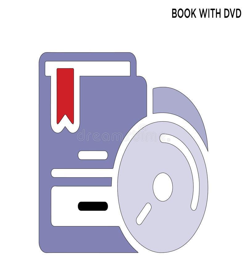Livro com ícone editável do dvd ilustração royalty free