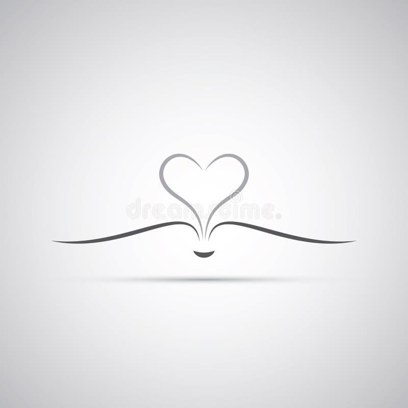 Livro com as páginas abertas que formam um coração - projeto do ícone ilustração stock