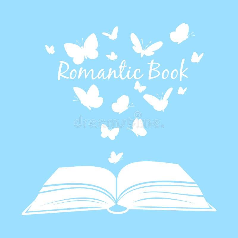 Livro com borboletas Abra o livro de texto com as silhuetas da borboleta acima das páginas isoladas no fundo branco ilustração do vetor