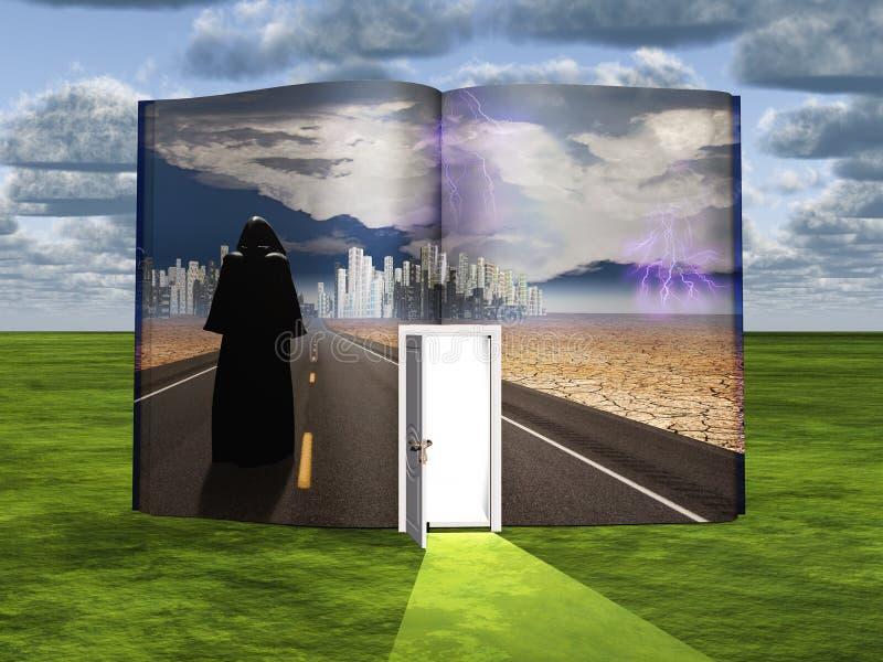 Livro com cena da ficção científica e a entrada aberta ilustração do vetor