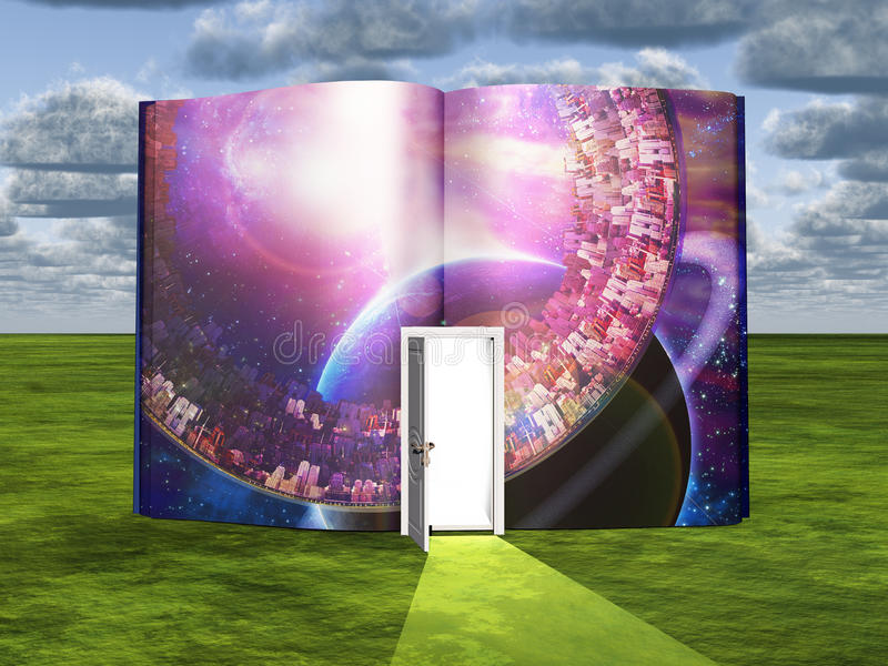 Livro com cena da ficção científica e a entrada aberta ilustração stock