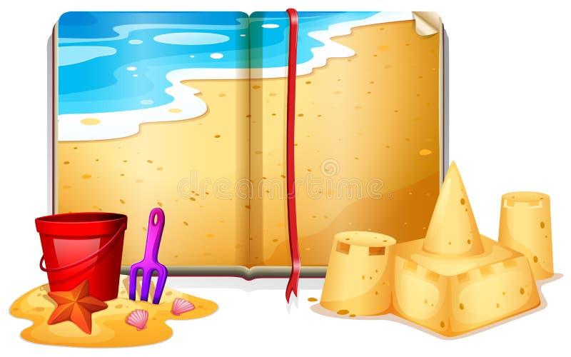 Livro com cena da praia ilustração stock