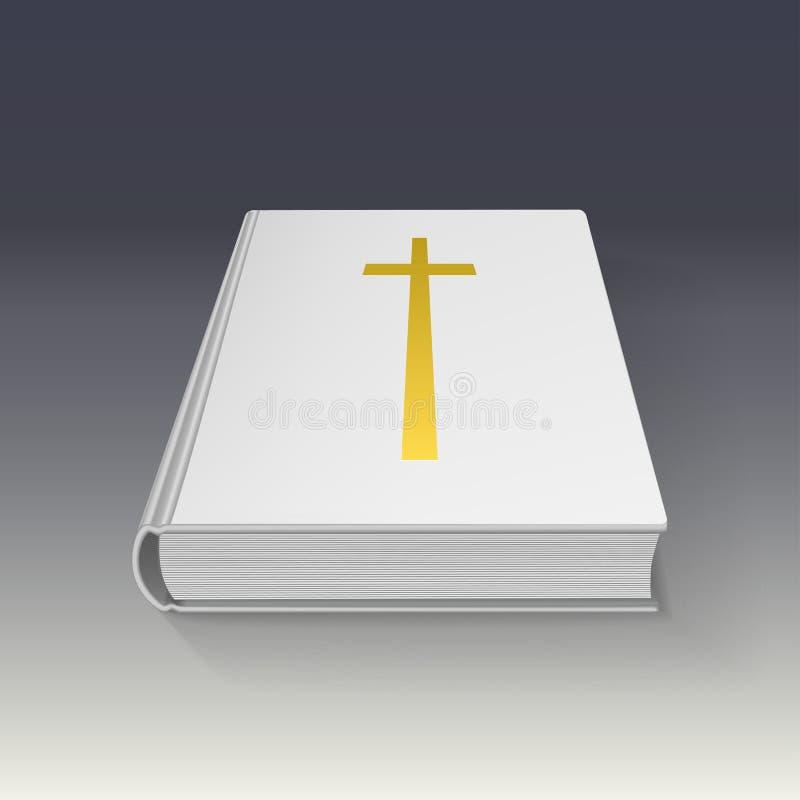 Livro com cruz do ouro, ilustração do vetor ilustração stock