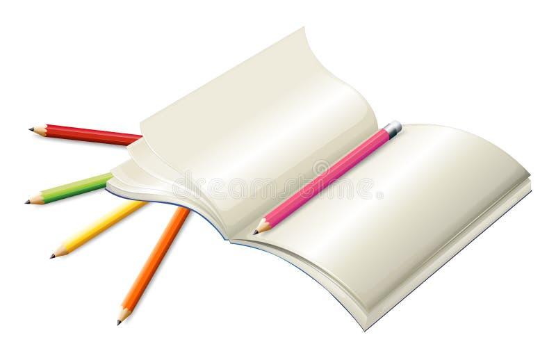 Livro com lápis ilustração do vetor