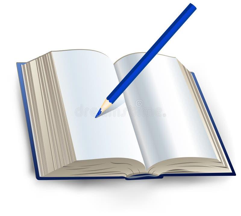 Livro com lápis ilustração royalty free