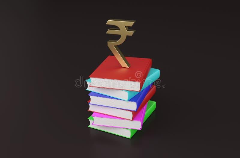 Livro com símbolo da rupia ilustração do vetor
