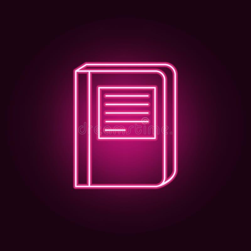 livro com um ícone da inscrição Elementos dos livros e dos compartimentos nos ícones de néon do estilo Ícone simples para Web sit ilustração royalty free