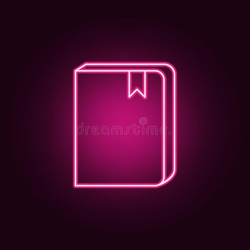 livro com um ícone do marcador Elementos dos livros e dos compartimentos nos ícones de néon do estilo Ícone simples para Web site ilustração do vetor