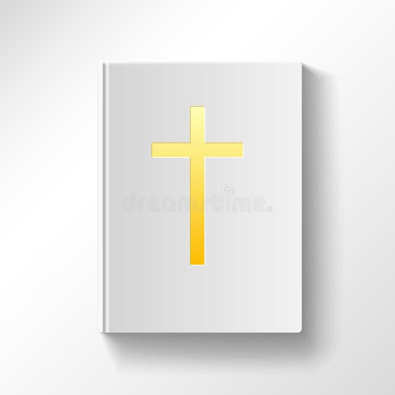 Livro com uma cruz do ouro Vista superior ilustração royalty free