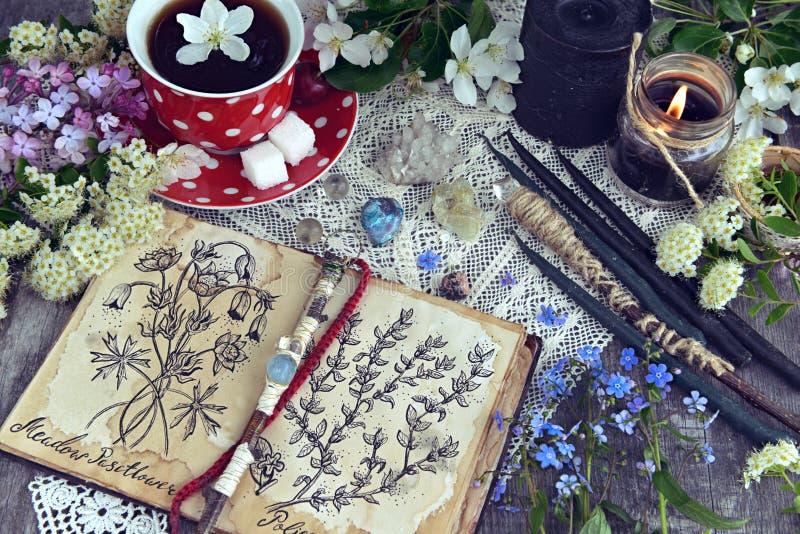 Livro da bruxa com as ervas mágicas e curas, velas pretas e copo do chá foto de stock royalty free