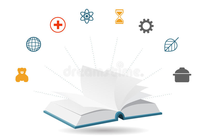 Livro da enciclopédia do conhecimento, ilustração do vetor ilustração stock
