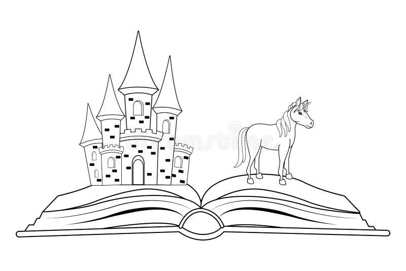 Livro da fantasia com o caráter das histórias preto e branco ilustração do vetor