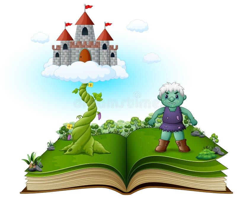 Livro da história com caule de feijoeiro mágico, castelo nas nuvens e o gigante verde ilustração do vetor