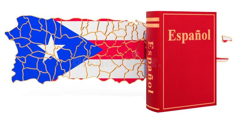 Livro da língua espanhola com o mapa de Porto Rico, rendição 3D ilustração royalty free