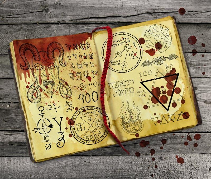 Livro da magia negra com símbolos místicos e gotas ensanguentados ilustração do vetor