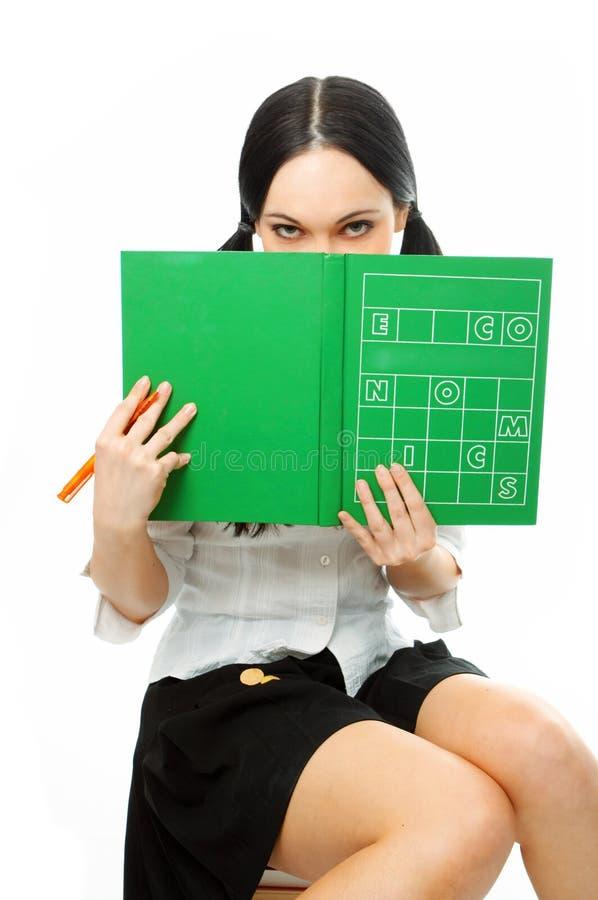 Livro da tampa da mulher imagens de stock royalty free