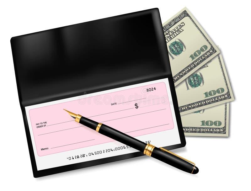 Livro de cheques preto com verificação, pena e dólares ilustração do vetor