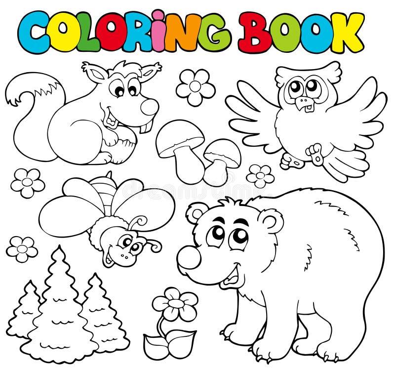 Livro de coloração com animais 1 da floresta ilustração do vetor