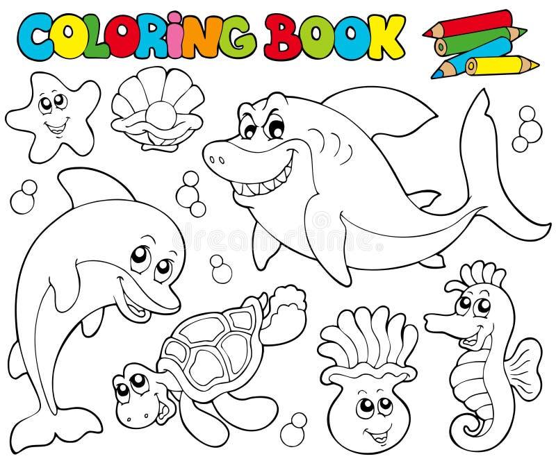 Livro de coloração com animais marinhos 2 ilustração do vetor