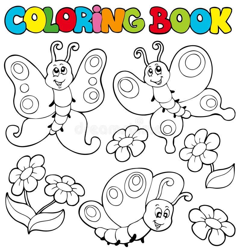Livro de coloração com borboletas 1 ilustração do vetor