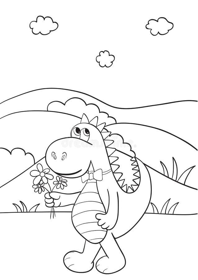 Livro de coloração com dragão ilustração stock