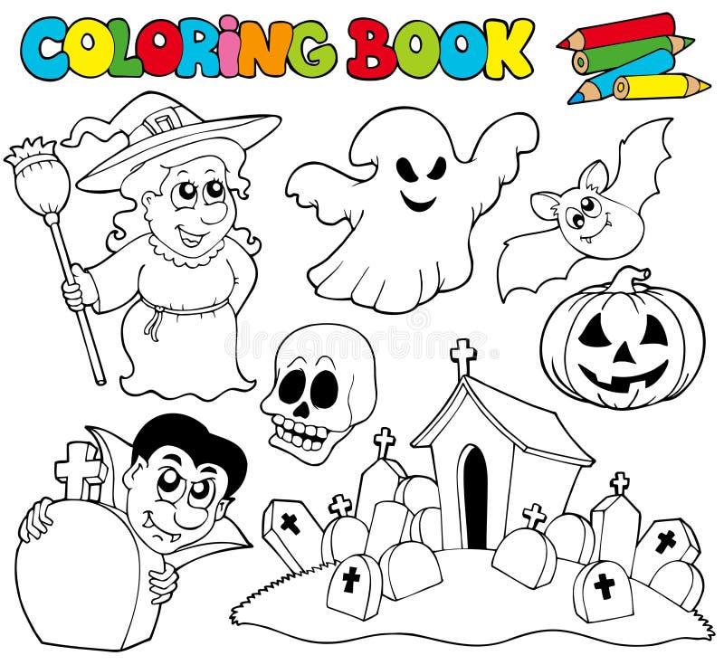 Livro de coloração com tema de Halloween ilustração stock