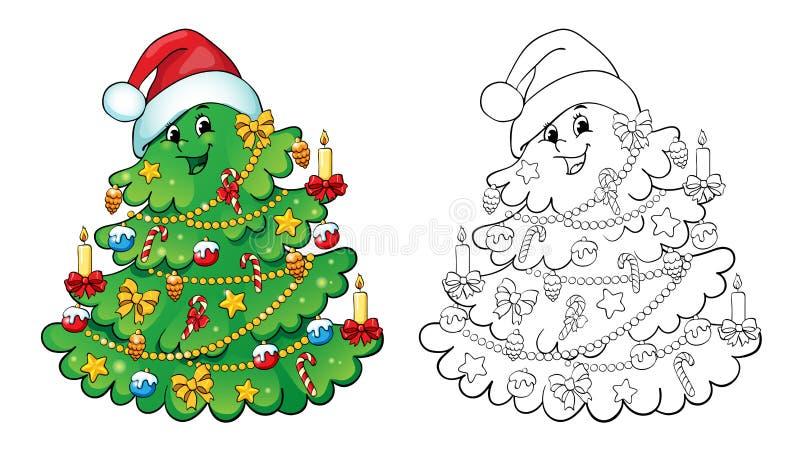 Livro de coloração Conceito do cartão da árvore de Natal ilustração stock