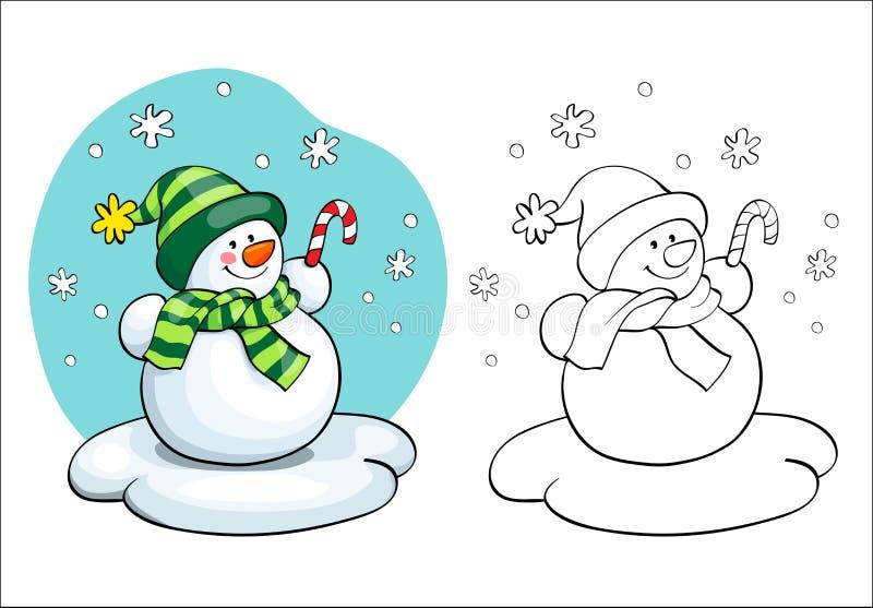 Livro de coloração Conceito do cartão do vetor - boneco de neve bonito ilustração stock