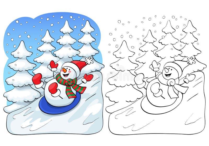 Livro de coloração Conceito do cartão do vetor - boneco de neve bonito ilustração do vetor