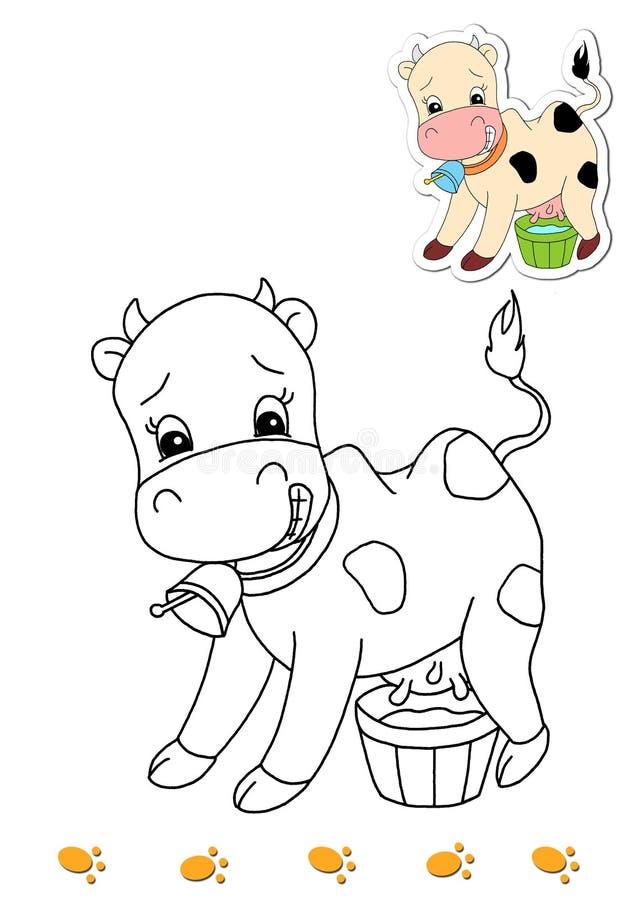 Livro de coloração dos animais 16 - vaca ilustração royalty free